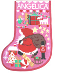 Pink Starry Stocking Canvas Only from One Off Needlework